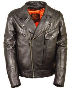 Milwaukee Leather Men's Side Belt Utility Pocket Motorcycle Jacket - 4X, Black, hi-res