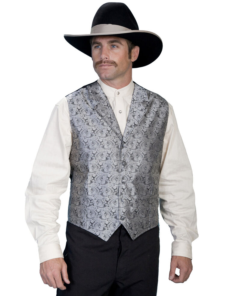 Rangewear by Scully Black Paisley Button Vest, Grey, hi-res