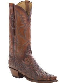 Lucchese Women's Handmade Antique Nutmeg Juliette Python Western Boots - Snip Toe, Brown, hi-res