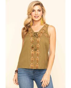 Idyllwind Women's Woodland Embroidered Tank Top, Olive, hi-res