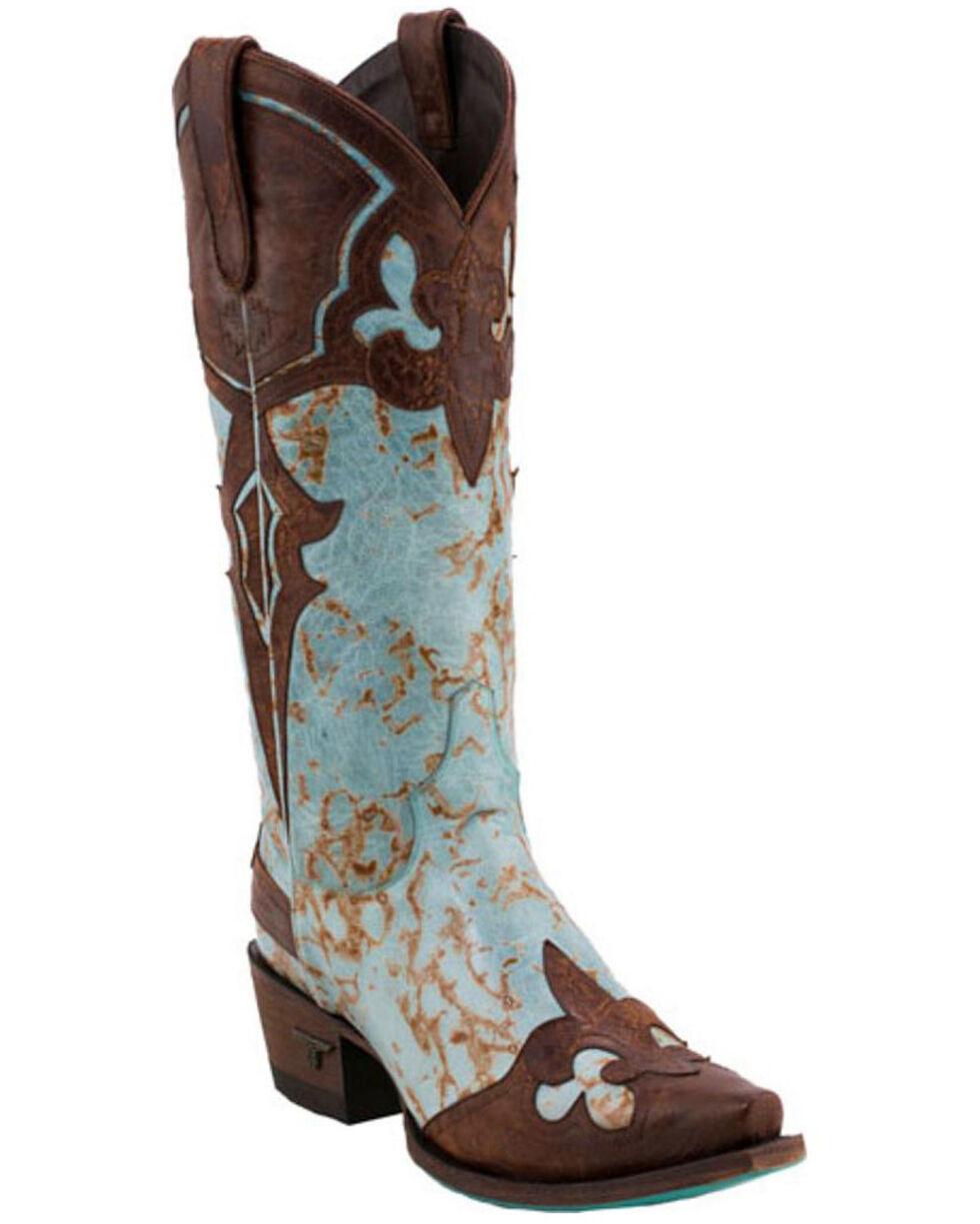 Lane Women's Masquerade Snip Toe Western Boots, Turquoise, hi-res