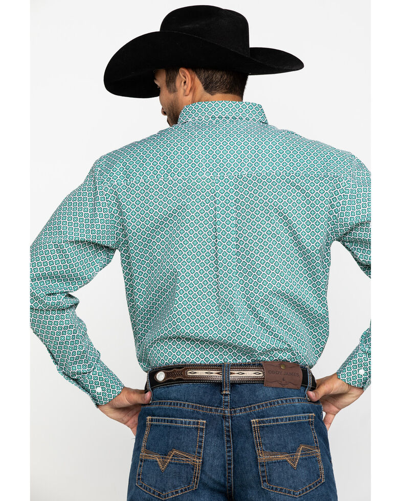 Wrangler Men's Classic Aqua Green Geo Print Long Sleeve Western Shirt , Green, hi-res