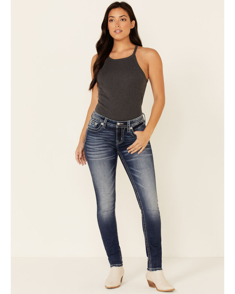 Miss Me Women's Leathered Sequin Skinny Jeans, Blue, hi-res