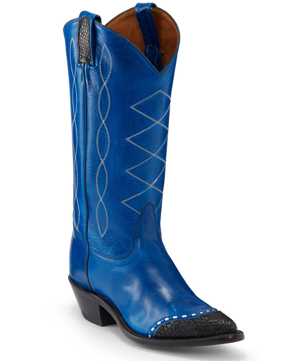 Tony Lama Women's Baltic Blue Emilia Western Boots - Pointed Toe, Blue, hi-res