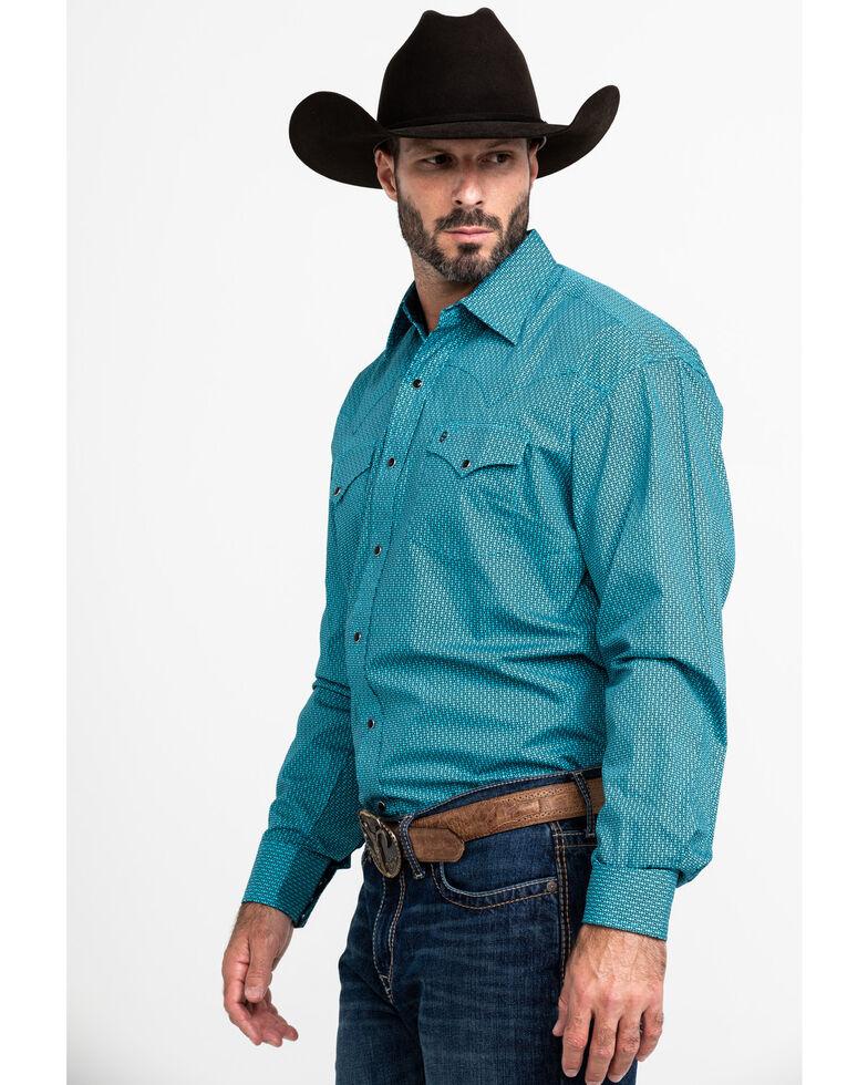 Stetson Men's High Fidelity Geo Print Long Sleeve Western Shirt , Blue, hi-res