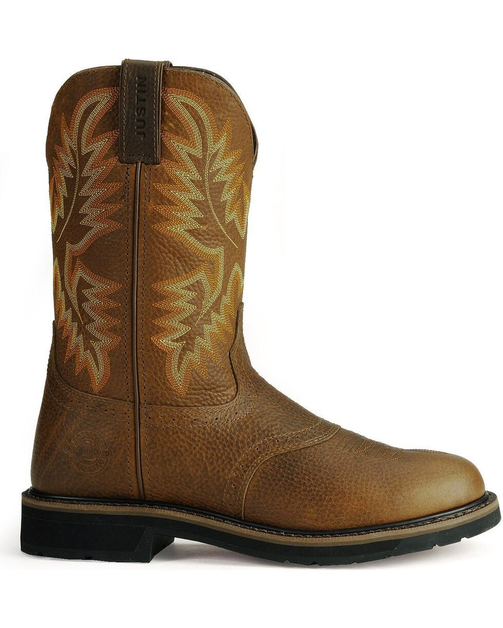 Justin Men's Soft Toe Work Boots, Tan, hi-res