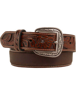 Ariat Tooled Billet Leather Belt, Tan, hi-res