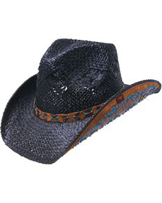 abef7341068 Peter Grimm Clay Faux Turquoise Studded Raffia Straw Cowboy Hat