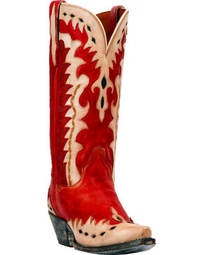 Dan Post Women's Mae Western Boots - Snip Toe, Red, hi-res