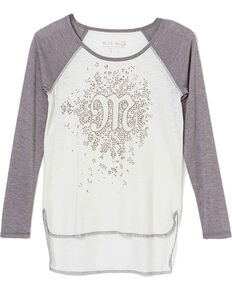 Miss Me Girls' Raglan High-Low Long Sleeve Tee, Off White, hi-res