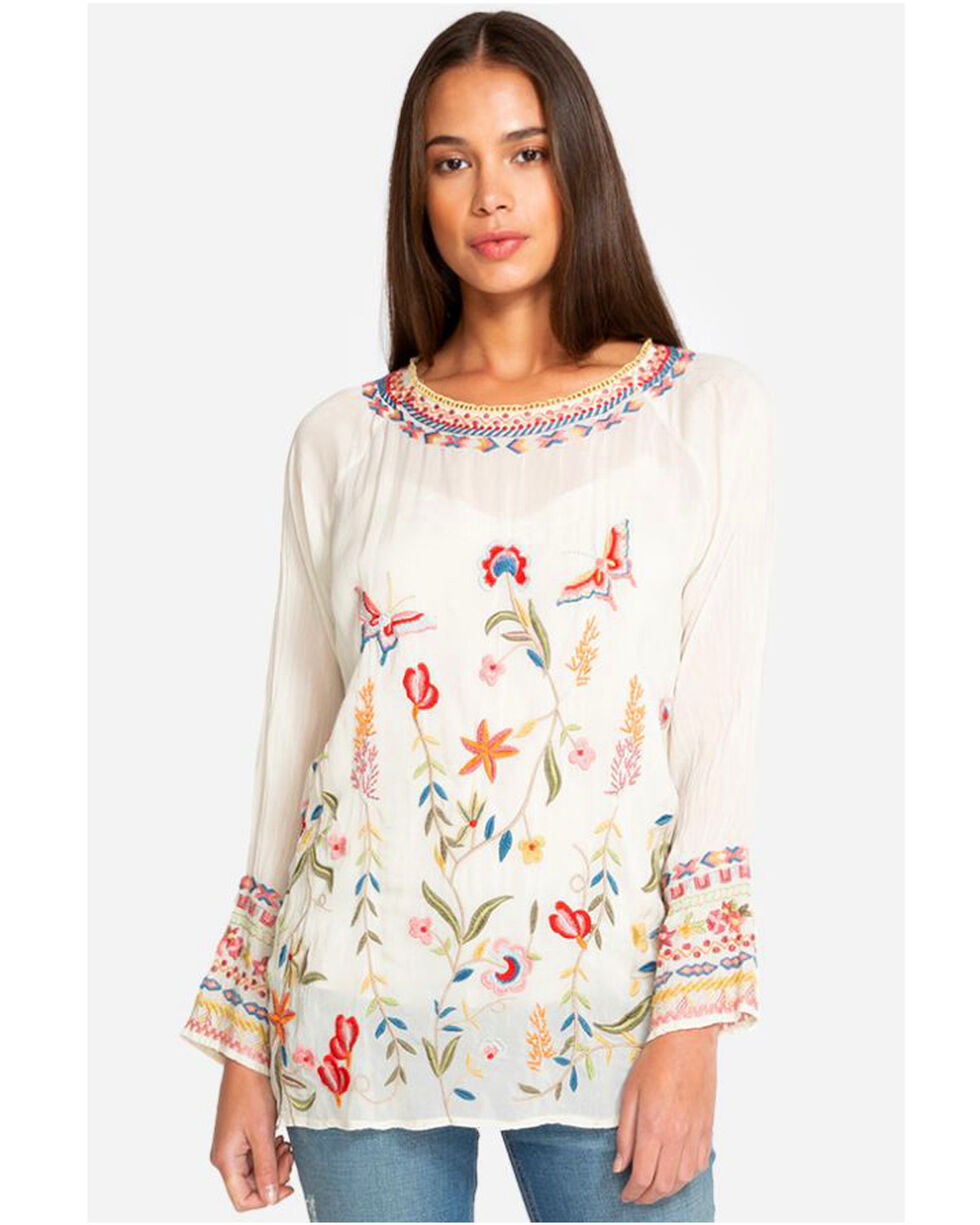 Johnny Was Women's Embroidered Long Sleeve Gella Blouse, Cream, hi-res