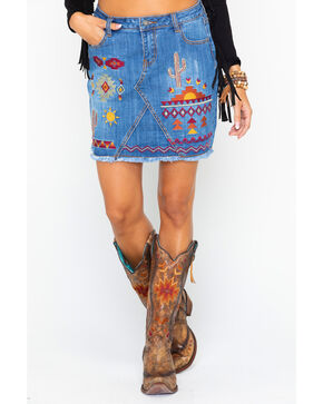 Stetson Women's Aztec Embroidered Raw Edge Denim Skirt  , Indigo, hi-res