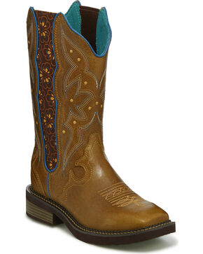 Justin Gypsy Women's Tan Heritage Floral Inlay Cowgirl Boots - Square Toe, Tan, hi-res