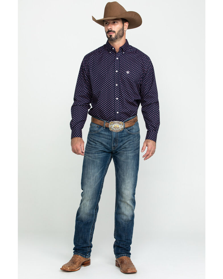 Ariat Men's Wrinkle Free Indham Small Geo Print Long Sleeve Western Shirt - Big , Navy, hi-res