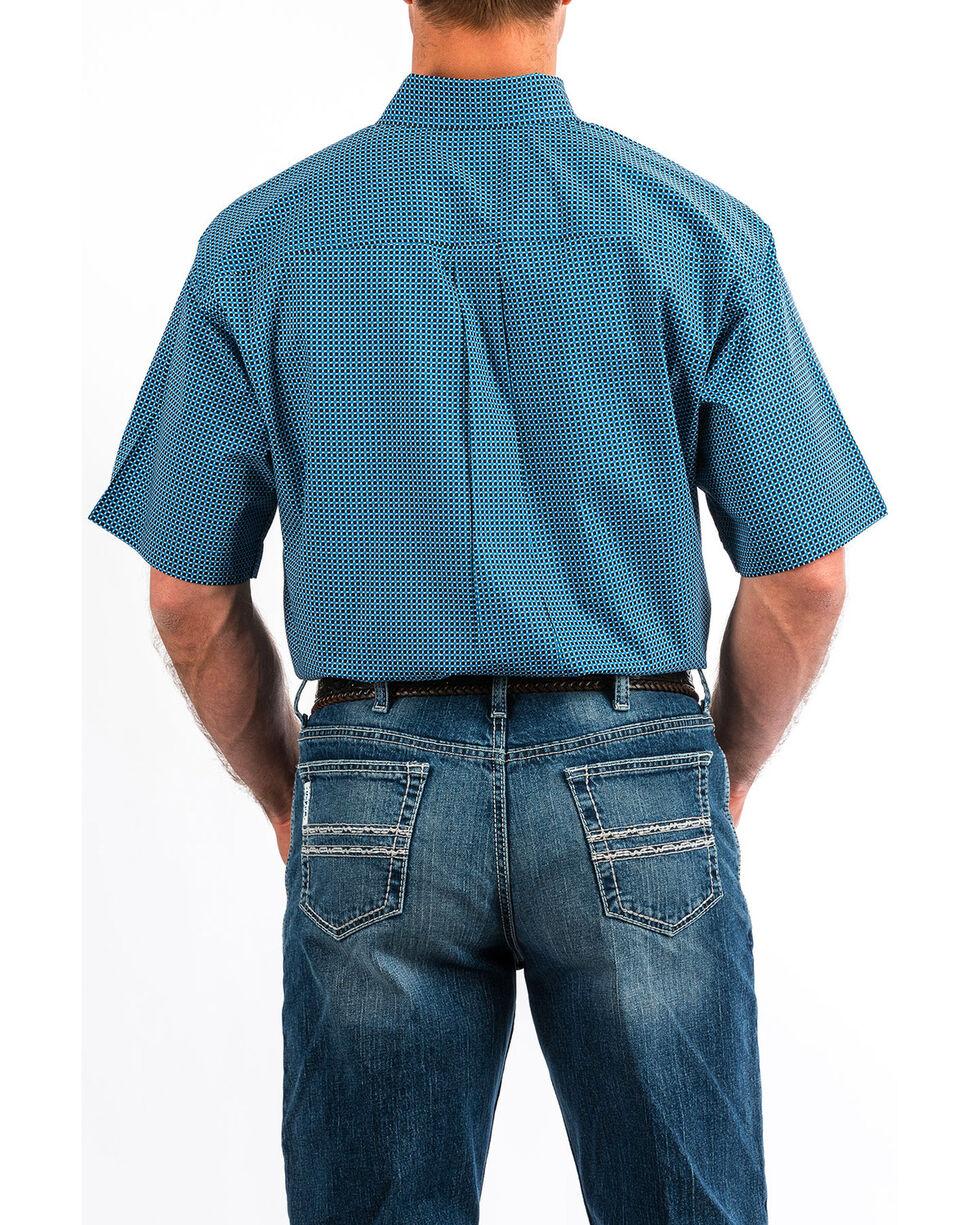 Cinch Men's Geo Print Short Sleeve Western Shirt , Blue, hi-res