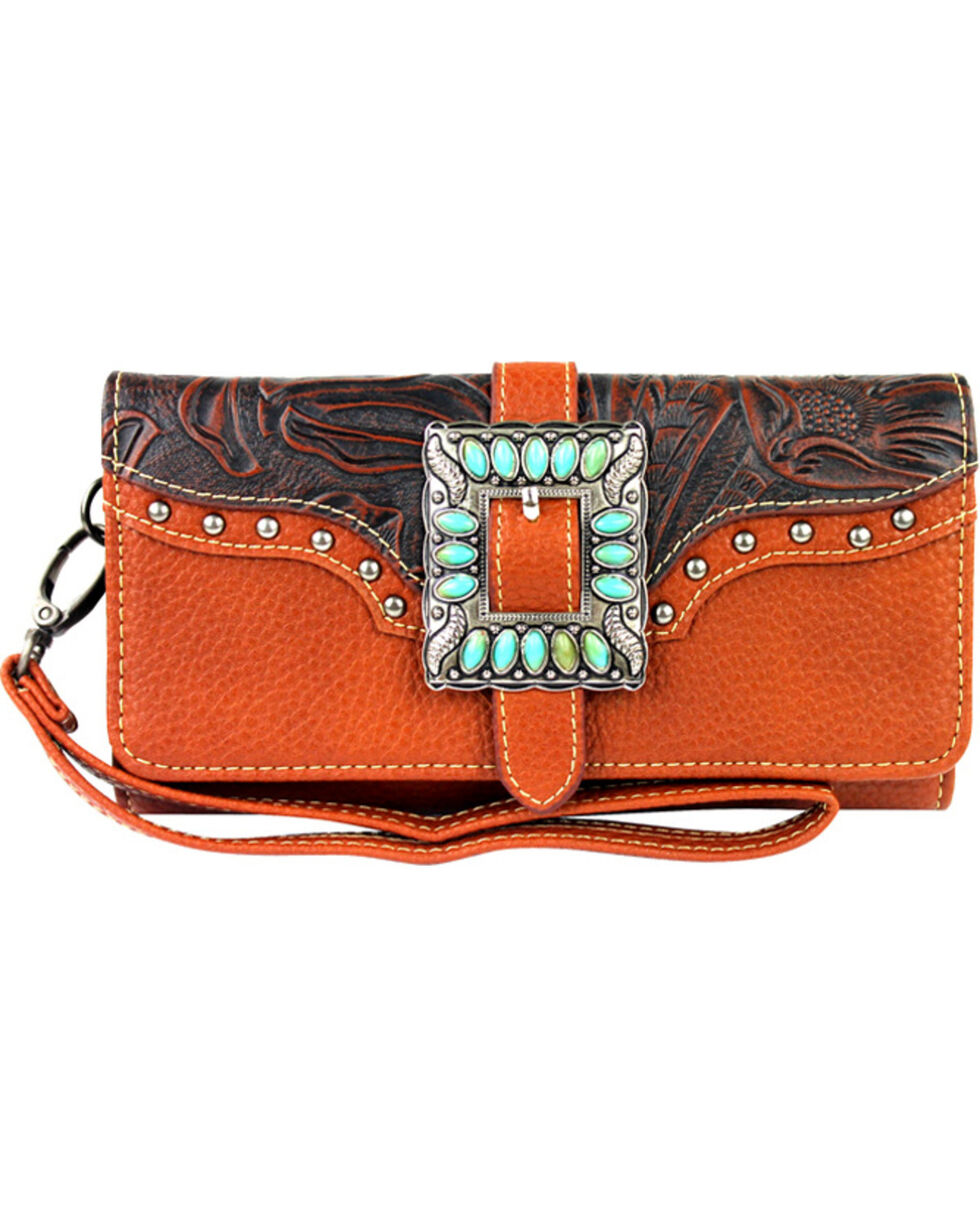 Montana West Trinity Ranch Buckle Wallet with Turquoise Stones, , hi-res