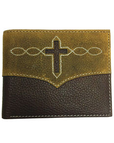 Roper Men's Brown Leather Cross Cut-Out Passcase Wallet , Brown, hi-res