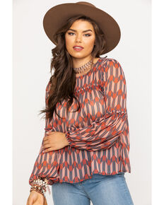 Wrangler Women's Rust Arrow Print Blouse, Rust Copper, hi-res