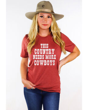 Ali Dee Women's This Country Needs More Cowboys Graphic Tee , Rust Copper, hi-res