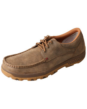 Twisted X Men's CellStretch Boat Driving Shoes - Moc Toe, Brown, hi-res