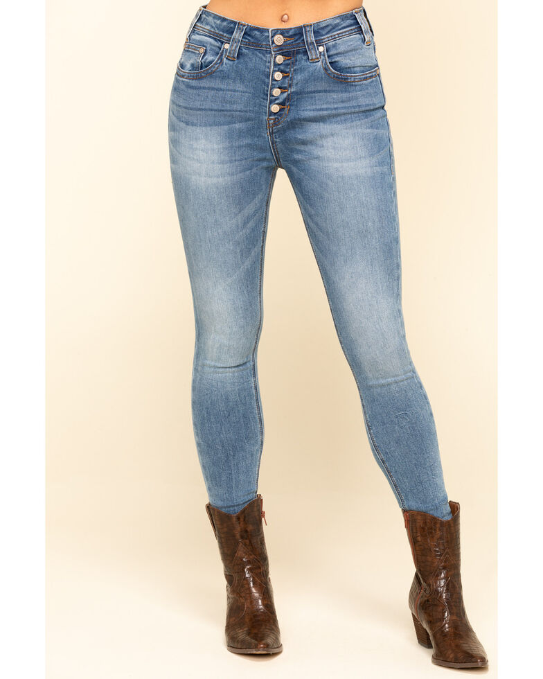 Rock & Roll Denim Women's Light Wash High Rise Button Skinny Jeans , Blue, hi-res