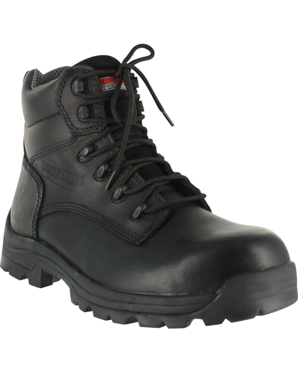 American Worker® Men's Stealth Composite Toe Work Boots, Black, hi-res