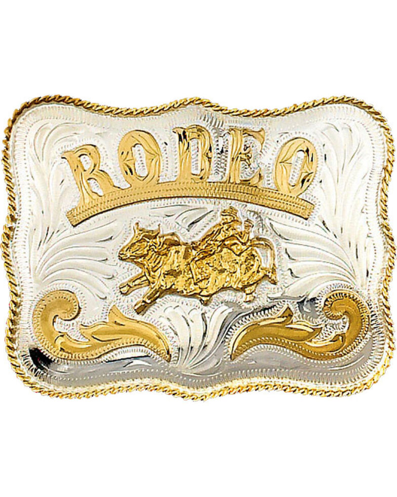 Western Express Men's Silver German Bullrider Belt Buckle , Silver, hi-res