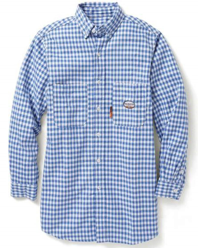 Rasco Men's Flame Resistant Blue Plaid Long Sleeve Work Shirt , Light Blue, hi-res