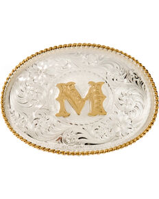 Montana Silversmiths Initial M Western Buckle, Silver, hi-res