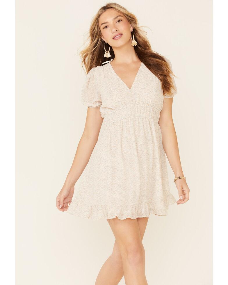 Very J Women's Speckle Print Smocked Waist Dress, Ivory, hi-res