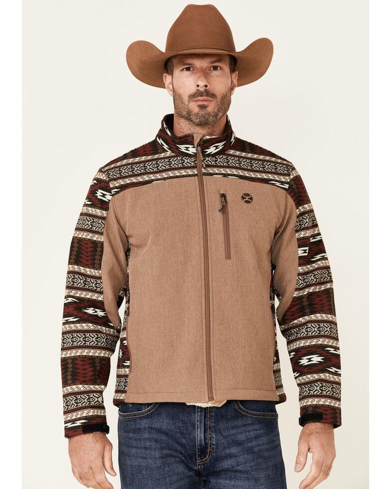 HOOey Men's Tan & Burgundy Aztec Print Zip-Front Softshell Jacket , Tan, hi-res