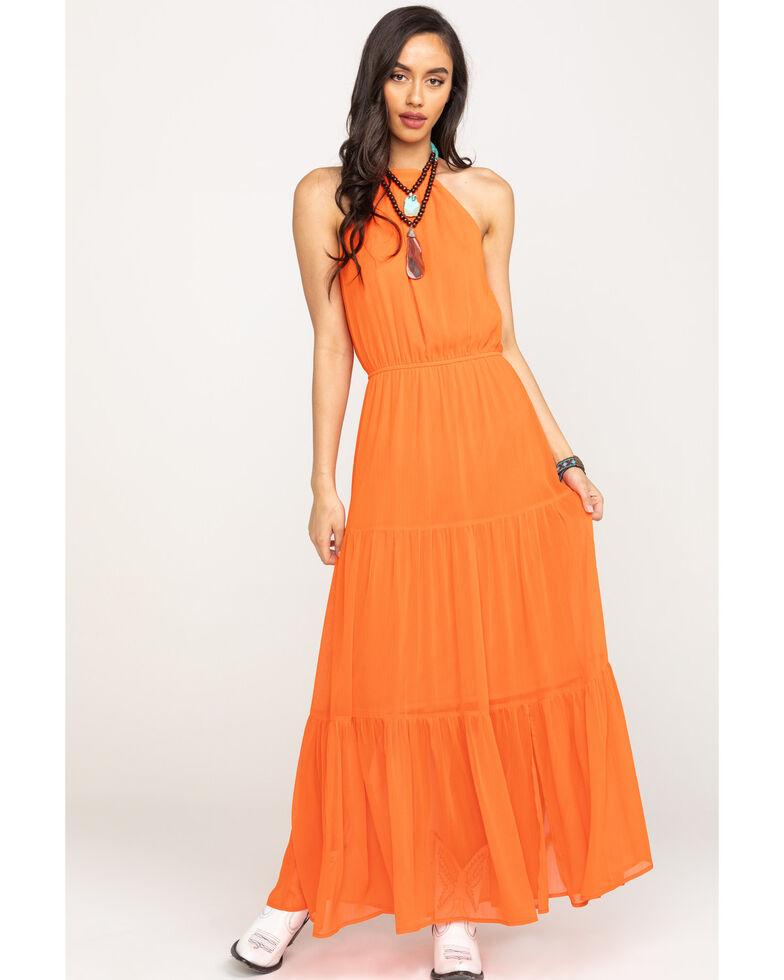 Flying Tomato Women's Orange Halter Maxi Dress, Orange, hi-res