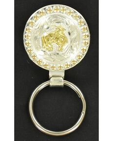 Silver & Gold-Tone Bull Rider Key Ring, Tan, hi-res