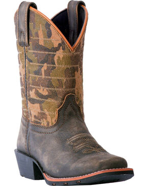 Dan Post Youth Boys' Foxtrot Camo Cowboy Boots - Square Toe, Dark Brown, hi-res