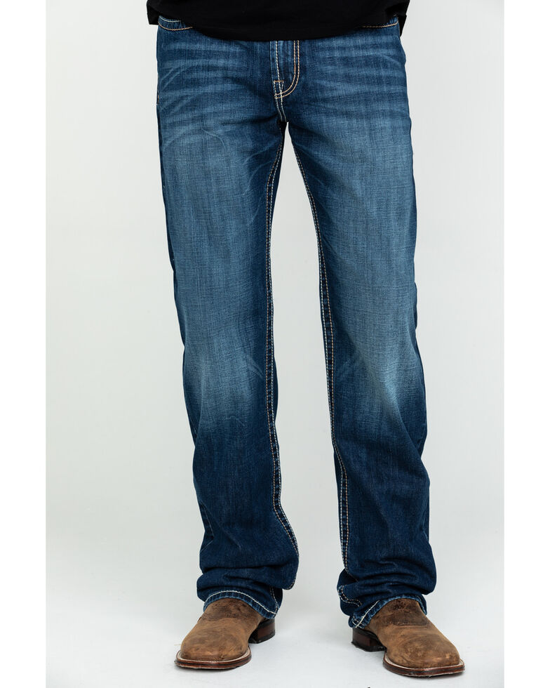 Cinch Men's White Label Medium Stone Relaxed Straight Jeans , Indigo, hi-res