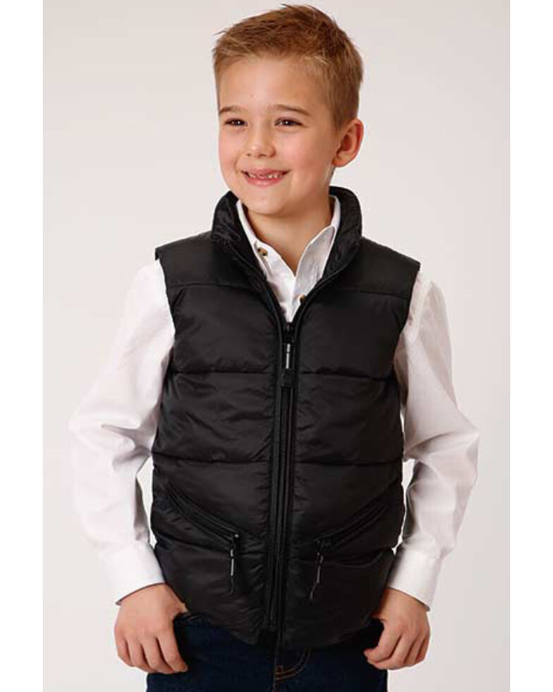 Roper Boys' Black Crushable Poly Filled Parachute Vest , Black, hi-res