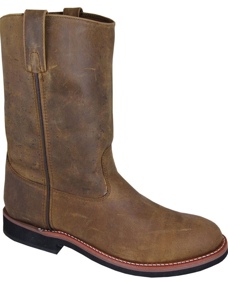 Smoky Mountain Men's Wellington Cowboy Boots - Round Toe, Brown, hi-res