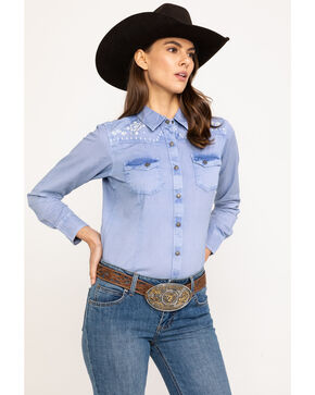 Ariat Women's R.E.A.L. Brilliant Snap Long Sleeve Western Shirt , Indigo, hi-res