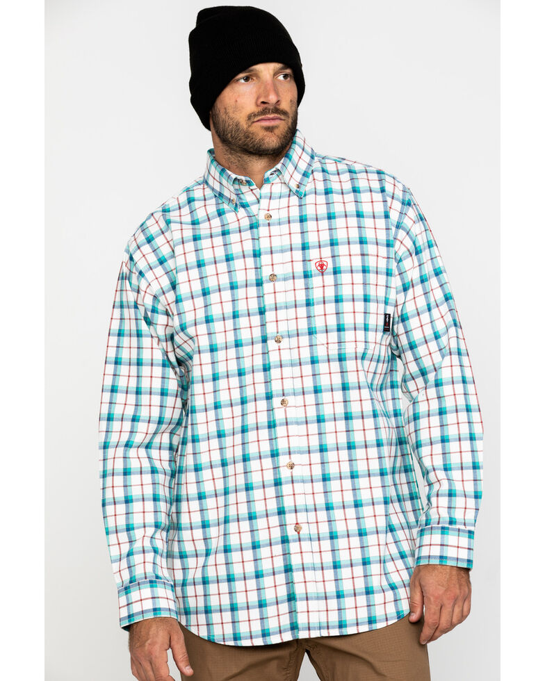 Ariat Men's FR Pecos Multi Plaid Long Sleeve Work Shirt - Big , No Color, hi-res