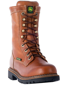 "John Deere Men's 9"" Waterproof Logger Boots - Steel Toe, Mahogany, hi-res"