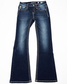 Miss Me Girls' Dreamcatcher Bootcut Jeans, Blue, hi-res