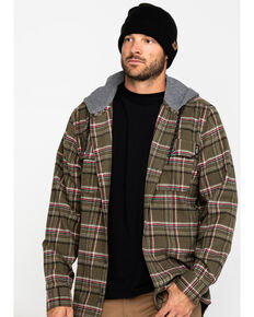 Hawx Men's Olive Mission Plaid Hooded Long Sleeve Shirt Work Jacket - Tall , Olive, hi-res