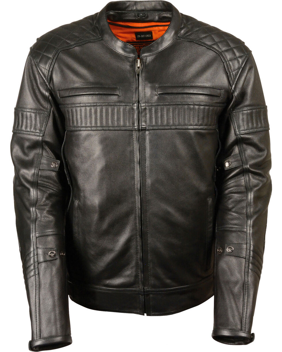 Milwaukee Leather Men's Black Quilted Pattern Scooter Jacket  , Black, hi-res