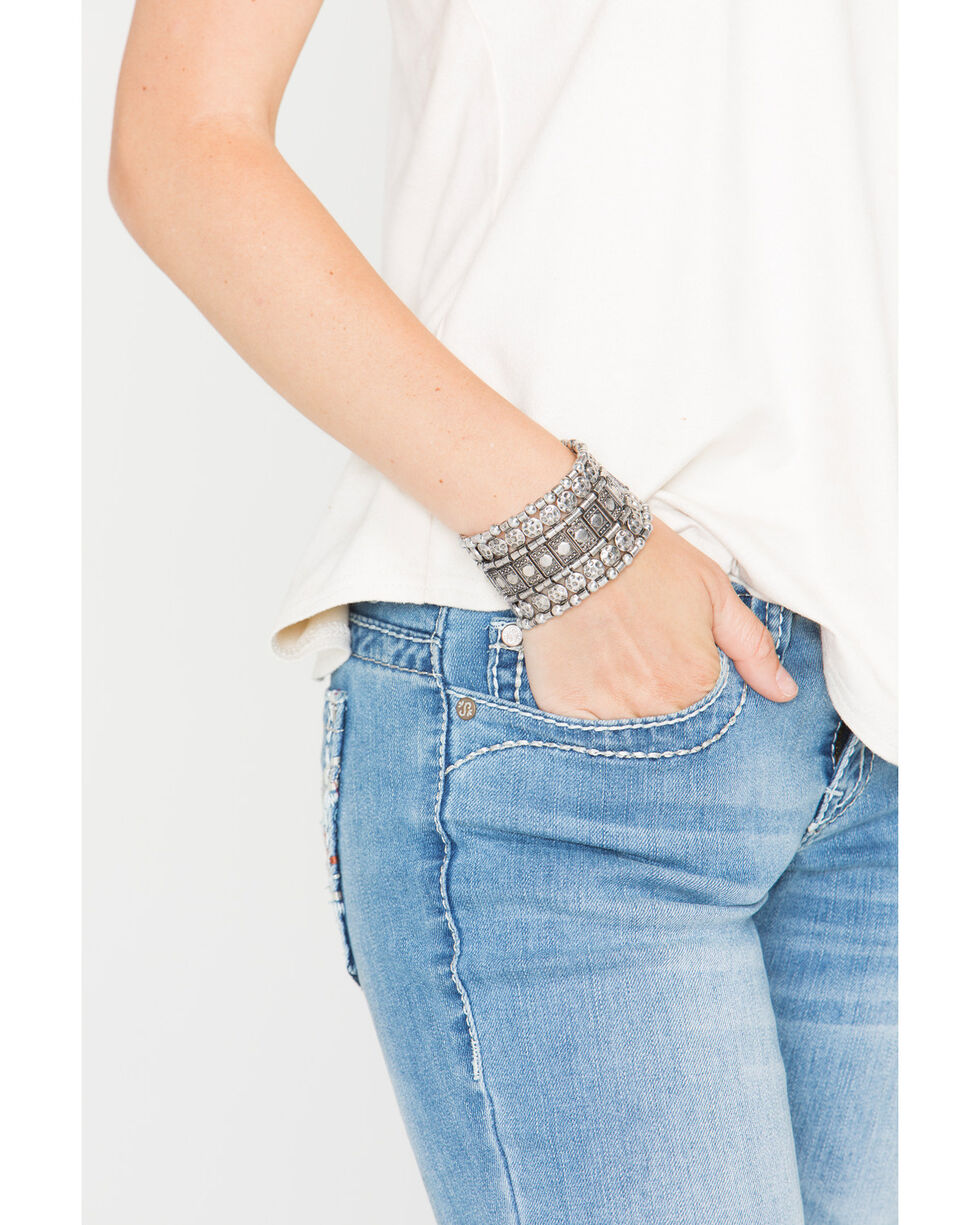 Shyanne® Women's Mixed Pattern Stretch Bracelet, Silver, hi-res