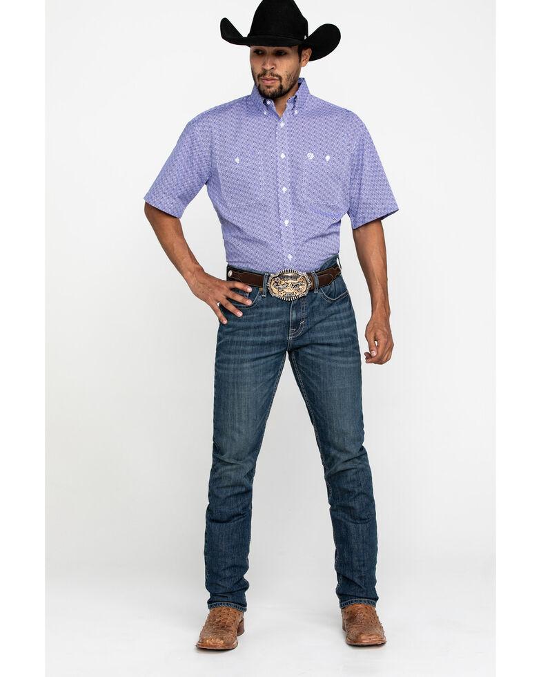 George Strait By Wrangler Purple Geo Print Short Sleeve Western Shirt - Tall , Purple, hi-res