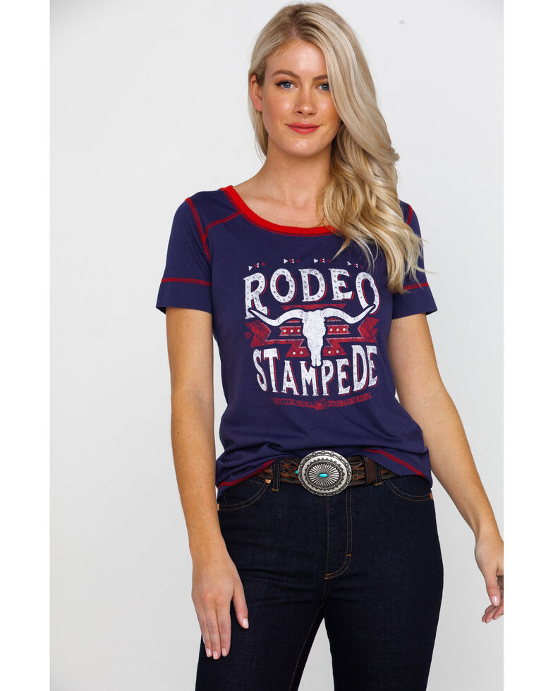 White Label by Panhandle Women's Studded Rodeo Stampede Graphic Tee , Navy, hi-res