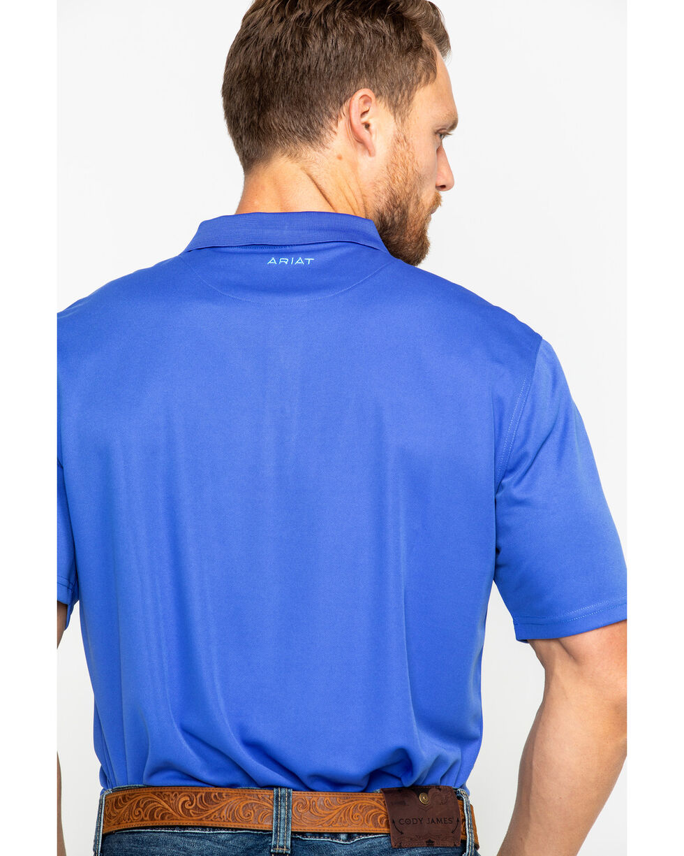 Ariat Men's Solid Tek Amparo Short Sleeve Polo Shirt , Blue, hi-res