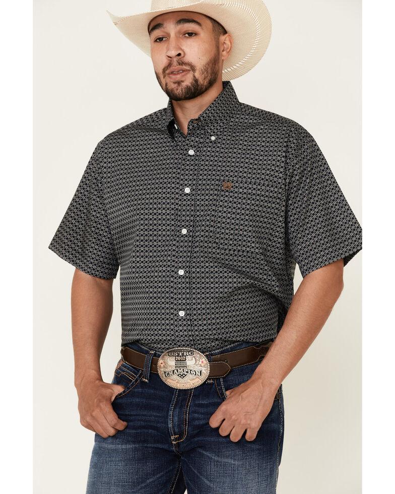 Cinch Men's Black Geo Print Short Sleeve Button Western Shirt - Big , Black, hi-res