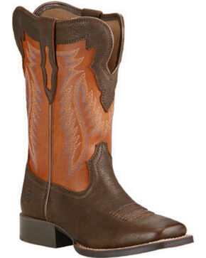 Ariat Youth Buscadero Western Boots, Brown, hi-res