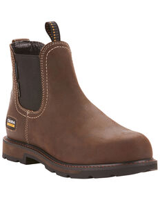 Ariat Men's Groundbreaker Chelsea Waterproof Work Boots - Steel Toe, Dark Brown, hi-res